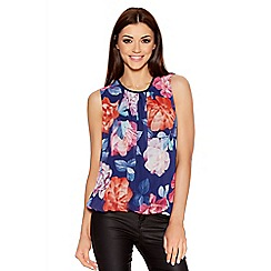 Quiz - Navy Floral Print Bubble Bow Back Top