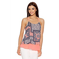 Quiz - Coral And Navy Crepe Tile Print Top
