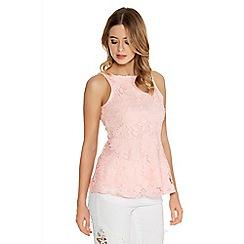 Quiz - Pink Crochet Lace Peplum Top