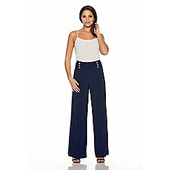 Quiz - Navy Silver Button Palazzo Trousers