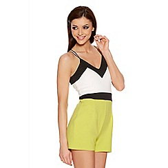 Quiz - Cream Lime And Black Strap Playsuit