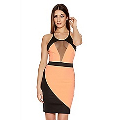Quiz - Coral And Black Mesh Contrast Dress