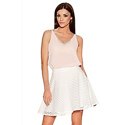 Quiz - Cream Mesh Stripe Skater Skirt