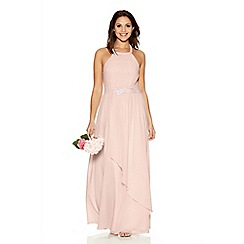 Quiz - Blush Chifffon Diamante Trim Maxi Dress