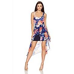 Quiz - Navy Floral Print Chiffon Dip Hem Dress