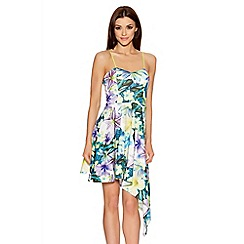 Quiz - Multicolour Tropical Print Asymmetrical Dress
