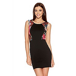 Quiz - Black Tropical Mesh Contrast Bodycon Dress