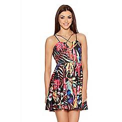 Quiz - Black Tropical Print Skater Dress