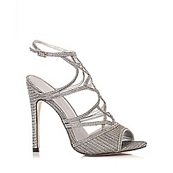 Quiz - Silver Shimmer Cage Heel Sandals