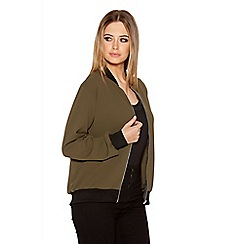 Quiz - Khaki And Black Crepe Bomber Jacket