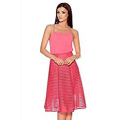 Quiz - Pink Mesh Ribbed Midi Skirt