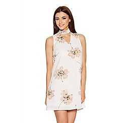 Quiz - Cream And Blush Crepe Flower Print Tunic Dress