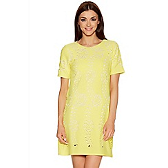 Quiz - Yellow And Cream Laser Cut Tunic Dress