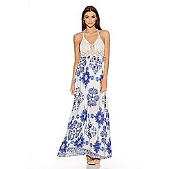 Quiz - Cream And Blue Paisley Print Crochet Maxi Dress