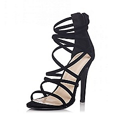 Quiz - Black Faux Suede Multi Strap Heel Sandals