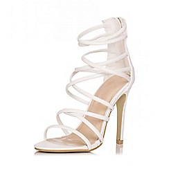 Quiz - White Multi Strap Heel Sandals