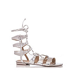 Quiz - Silver Lace Up Gladiator Sandals