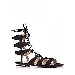 Quiz - Black Faux Suede Lace Up Gladiator Sandals