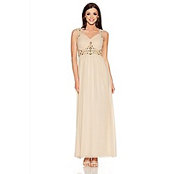 Quiz - Chamagne V Neck Embellished Maxi Dress