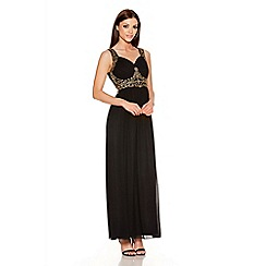 Quiz - Black And Gold V Neck Embellished Maxi Dress
