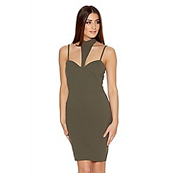 Quiz - Khaki Crepe Turtle Neck Bodycon Dress