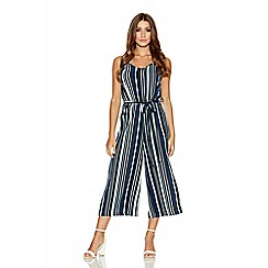Quiz - Navy And Mint Culotte Jumpsuit