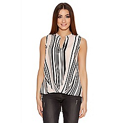 Quiz - Pink Black And Cream Sleeveless Wrap Shirt