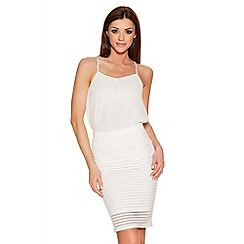 Quiz - Cream Mesh Lined Skirt