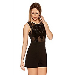 Quiz - Black Mesh Sleeveless Embroidered Playsuit