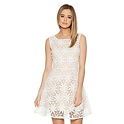 Quiz - Cream And Nude Crochet Pearl Skater Dress