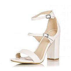 Quiz - White Strap Block Heel Sandals