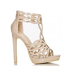 Quiz - Nude Patent Cut Out Heel Sandals
