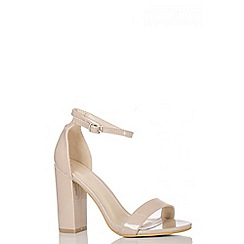 Quiz - Nude Patent Block Heel Shoes