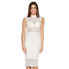 Quiz - Cream Mesh Turtle Neck Panel Midi Dress