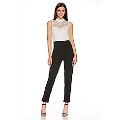 Quiz - Cream And Black Lace Turtle Neck Jumpsuit