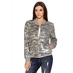 Quiz - Grey Camouflage Shimmer Bomber Jacket