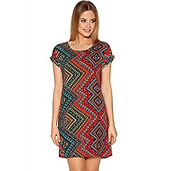 Quiz - Red Aztec Print Tunic Dress