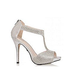 Quiz - Silver Diamante T-Bar Sandals