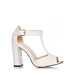 Quiz - White T-Bar Block Heel Shoes