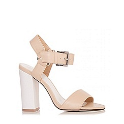 Quiz - Nude And White Ankle Strap Block Heel Shoes