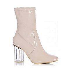 Quiz - Nude Patent Perspex Heel Boots
