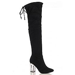 Quiz - Black Faux Suede Perspex Heel Boots