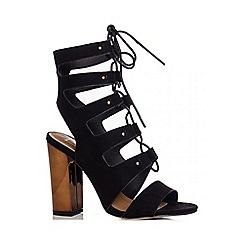 Quiz - Black Faux Suede Block Heel Shoe