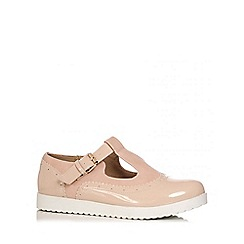 Quiz - Nude Patent T-Bar Loafers