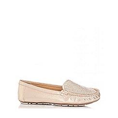 Quiz - Gold Diamante Loafers