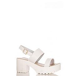 Quiz - White Strap Chunky Heel Sandals