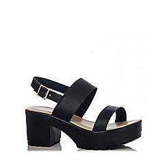 Quiz - Black Strap Chunky Heel Sandals