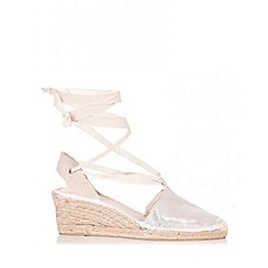 Quiz - Silver Shimmer Tie Up Hessian Wedges