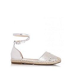 Quiz - Silver Sequin Hessian Flat Sandals