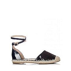 Quiz - Black Sequin Hessian Flat Sandals